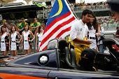 Sepang, MALAYSIA - 23 November: Team Malaysia driver, Fairuz Fauzi being introduced at the start of the World A1 GP championship races. 23 November 2008 in Sepang International Circuit Malaysia.