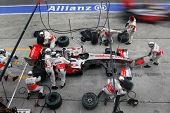 SEPANG, MALAYSIA - APRIL 5: McLaren Mercedes' Lewis Hamilton at a pit-stop of the final race of the