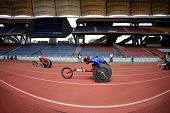 KUALA LUMPUR - AUGUST 16: ASEAN nations' wheel chair athletes compete at the track and field event o