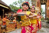 BALI - JANUARY 15: Young dancers perform a welcome dance in a 'full moon ceremony' in the Bedulu vil