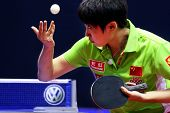 KUALA LUMPUR, MALAYSIA - SEPTEMBER 24: Guo Yue of China, (ITTF World Rank 7) in action at the Volksw