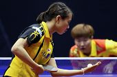 KUALA LUMPUR, MALAYSIA - SEPTEMBER 24: Sayaka Hirano, Japan prepares to serve against Guo Yan of Chi