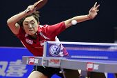 KUALA LUMPUR, MALAYSIA - SEPTEMBER 24: Feng Tianwei, Singapore (ITTF World Rank 2) returns with a smash at the Volkswagen 2010 Women's World Cup in table tennis on September 24, 2010 in Kuala Lumpur.