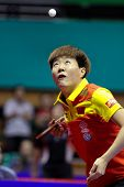 KUALA LUMPUR, MALAYSIA - SEPTEMBER 24: Guo Yan, China (ITTF World Ranking #3) tosses the ball at ser