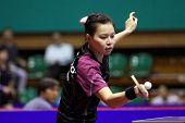 KUALA LUMPUR, MALAYSIA - SEPTEMBER 24: Wu Jiaduo, Germany (ITTF World Rank 11) hits a return shot at