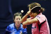 KUALA LUMPUR, MALAYSIA - SEPTEMBER 24: Kim Kyung Ah, South Korea (ITTF World Rank 10) hits a return