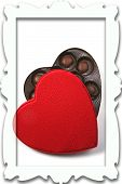 Box Of Chocolate Candy In Heart Shaped Box