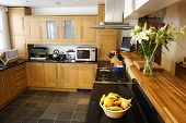 wooded fitted kitchen interior