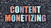 Content Monetizing in Multicolor. Doodle Design. poster