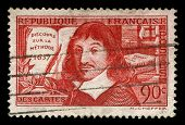 vintage french stamp depicting Rene Descartes a famous mathematician and philosopher dubbed the fath