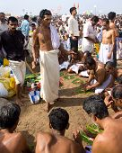 Kerala - August 9: A Brahmin Priest Leads A Hindu Commemoration For The Dead On August 9, 2010 In Ke