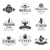 Fitness Logos Templates Set. Vector object and Icons for Sport Labels, Gym Badges, Health Logos Desi poster