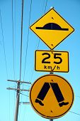 foto of retarded  - three yellow australian signs - JPG