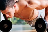 Strong, handsome man doing push-ups on dumbbells in a gym as bodybuilding exercise, training his muscles