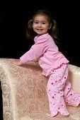 Cute Girl In Pink Pjs poster