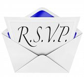 An opening envelope revealing a formal  RSVP response to an invitation to a special party or event,