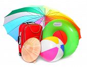 Beach umbrella and necessary articles for happy holidays in tropical destination. poster