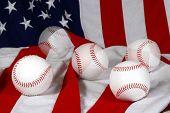 Five Baseballs And Flag