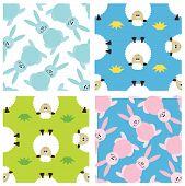 Set of childish seamless patterns with animals