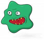 Scary microbio verde mal - ilustración divertida