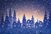 Paper Winter Landscape With Village And Christmas Trees In Snow Night. poster