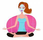 Woman With Facial Mask Doing Yoga