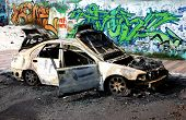 Burnt Car With Graffiti