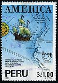 PERU-CIRCA 1991:A carimbo imprimido no PERU mostra imagem das Américas, ou na América, são terras do Wester