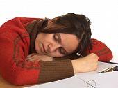 Woman Fell Asleep Studying