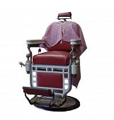 picture of barber  - red vintage barber chair with apron on a white background - JPG