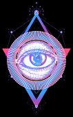 Magic All Seeing Eye Color Tattoo Art Vector. Freemason And Spiritual Symbols. Alchemy, Medieval Rel poster