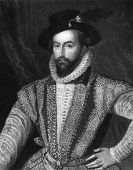 Walter Raleigh (1552-1618). Engraved by J.Pofselwhite and published in Lodge's British Portraits enc