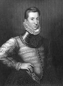 Philip Sidney (1554-1586). Engraved by H.Robinson and publised in Lodge's British Portraits encyclop