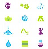 Wellness, Spa And Nature Vector Icons Isolated On White.