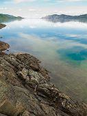 Lake Laberge, Yukon T, Canada, on calm summer day