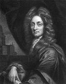 Christopher Wren (1632-1723). Radierung von W.Holl und in der Galerie von Porträts mit Memo veröffentlicht