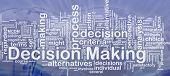 Background concept wordcloud illustration of decision making international
