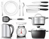 stock photo of kitchen utensils  - Kitchenware pots - JPG