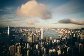 Panorama Of Hong Kong City Skyline Before Sunset poster