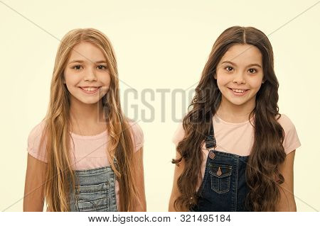 poster of Natural Beauty. Healthy And Shiny Hair. Kid Cute Child With Long Adorable Hairstyle. Hair Care Tips