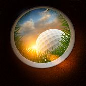 Golf Ball and hole - Inside the hole