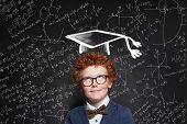 Successful Kid Schoolboy In Graduation Hat On Science Background poster
