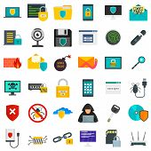 Cyber Security Icon Set. Flat Set Of Cyber Security Vector Icons For Web Design poster
