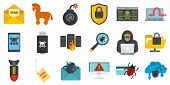 Cyber Attack Icons Set. Flat Set Of Cyber Attack Vector Icons For Web Design poster