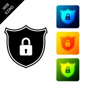 Shield Security With Lock Icon Isolated. Protection, Safety, Password Security. Firewall Access Priv poster