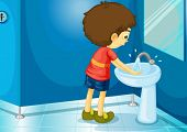 Illustration of a boy in a bathroom