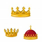 Vector Illustration Of Monarchy And Gold Symbol. Set Of Monarchy And Heraldic Vector Icon For Stock. poster