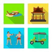 Vector Design Of Journey And Exotic Icon. Set Of Journey And National Vector Icon For Stock. poster