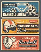 Baseball Sport Retro Vector. Field And Player, Helmet Protective Gear, Catcher In Protection. Glove  poster