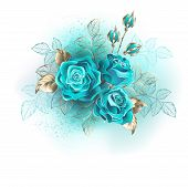 Bouquet Of Three Turquoise Roses With Gold And Turquoise Leaves On White Background. poster